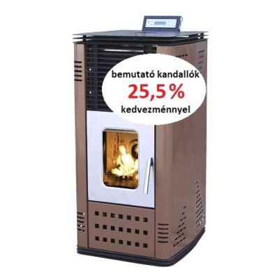 BEMUTATÓ KANDALLÓ - SENKO P-20 WATER+AIR meleg levegős és vízteres pellet kandalló, kályha (barna)
