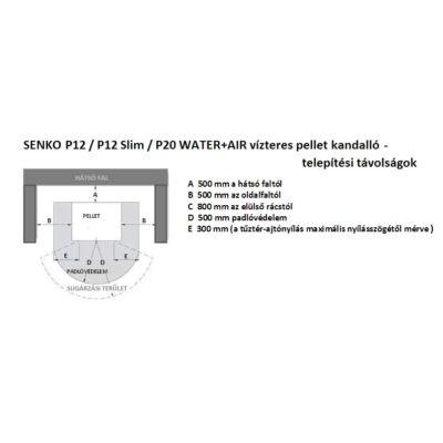 SENKO P 12 WATER+AIR - telepítési távolságok