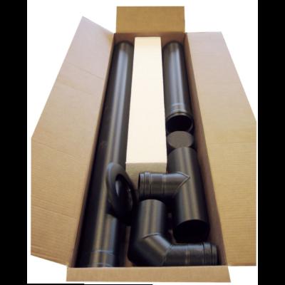 Rozsdamentes pelletkályha füstcső készlet (Z/ZS/ZR sorozat, fekete - 80 mm)